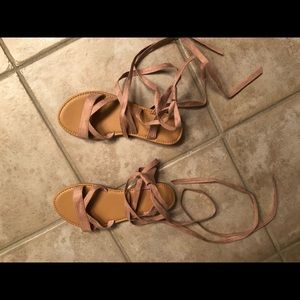 Faux Suede Strappy Self-Tie Sandals